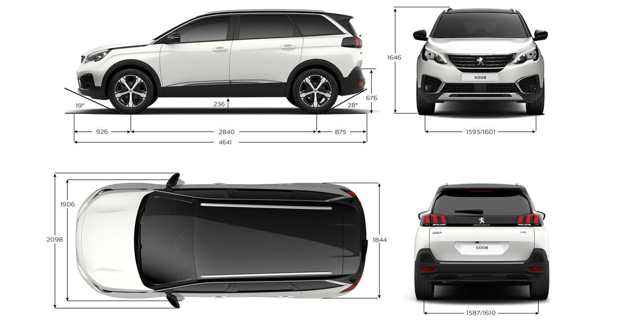 Nouveau SUV PEUGEOT 5008 : Dimensions extérieures