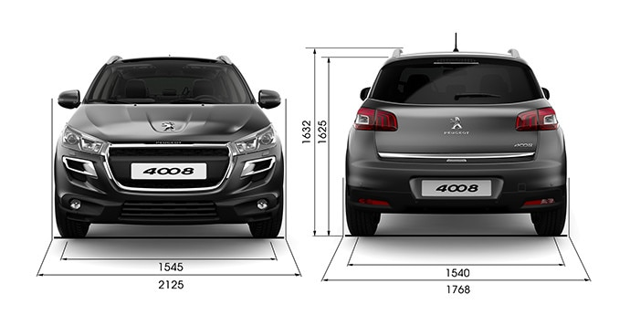 Informations techniques peugeot 4008 suv le 4x4 robuste for Interieur 4008 peugeot